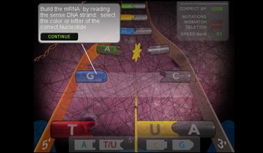 Screenshot of interactive game about DNA