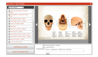 Screenshot of the lesson management tool