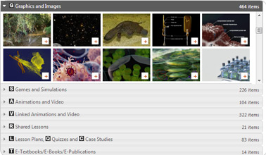 Screenshot of the explore page showing searchable content